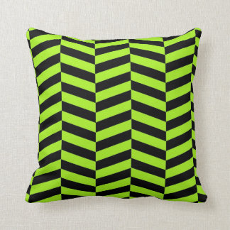 Funky Neon Green and Black Zig Zags Chevron Pillow