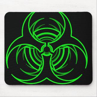 Funky neon green bio hazard symbol mouse pad