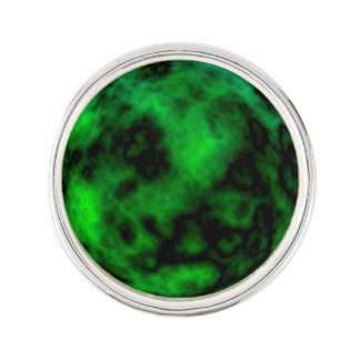 Funky Neon Green Emerald Halloween Abstract Lapel Pin