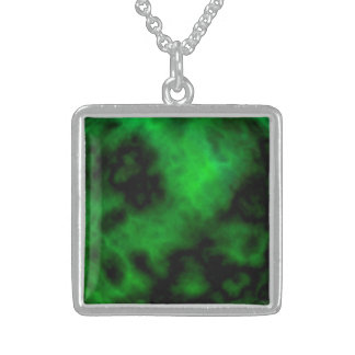 Funky Neon Green Emerald Halloween Abstract Sterling Silver Necklace