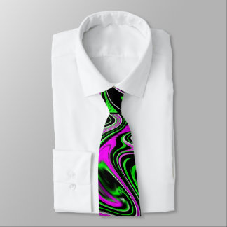 Funky Neon Green Pink and Black Wet Paint Swirl Tie