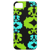 Funky Neon Green Turquoise Teal Damask Pattern iPhone 5 Covers