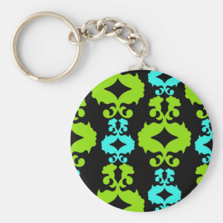 Funky Neon Green Turquoise Teal Damask Pattern Keychain