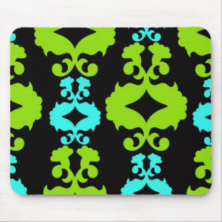 Funky Neon Green Turquoise Teal Damask Pattern Mouse Pad