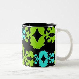 Funky Neon Green Turquoise Teal Damask Pattern Two-Tone Coffee Mug