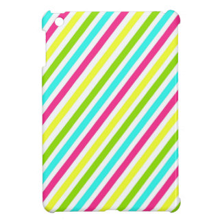 Funky Neon Pink Blue Green Yellow Stripes iPad Mini Cases