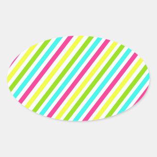 Funky Neon Pink Blue Green Yellow Stripes Oval Sticker