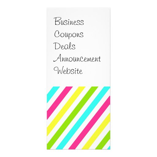 Funky Neon Pink Blue Green Yellow Stripes Customized Rack Card
