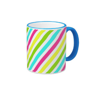 Funky Neon Pink Blue Green Yellow Stripes Ringer Mug