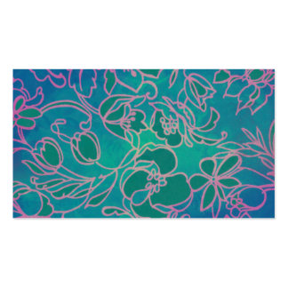 Funky Neon Pink Floral Vintage Blue Flower Pattern Business Card