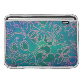 Funky Neon Pink Floral Vintage Blue Flower Pattern Sleeve For MacBook Air