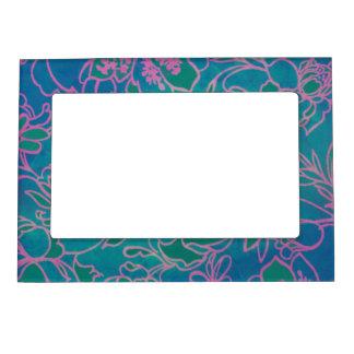 Funky Neon Pink Floral Vintage Blue Flower Pattern Photo Frame Magnet