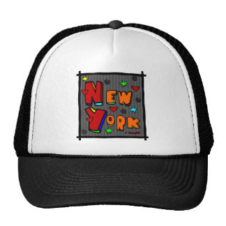 Funky New York, Art In Frame, Multi-Color Hats