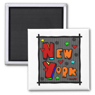 Funky New York, Art In Frame, Multi-Color 2 Inch Square Magnet