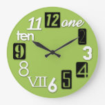 Funky Numbra Round Lime Green Wall Clocks