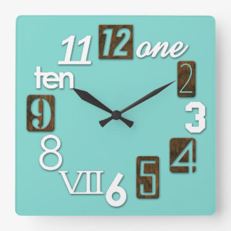 Funky Numbra Square Wall Clocks