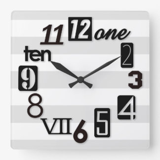 Funky Numbra Square with stripes Wall Clocks
