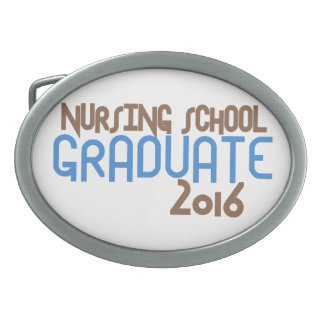 Funky Nursing School Graduate 2016 (Blue) Oval Belt Buckle