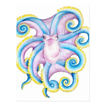 Beach Themed Funky Octopus Postcard