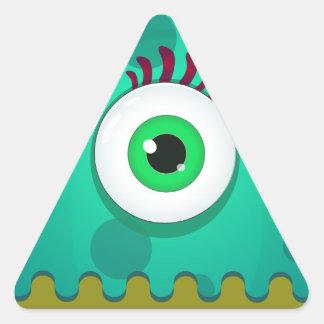 Funky one eye monster triangle sticker