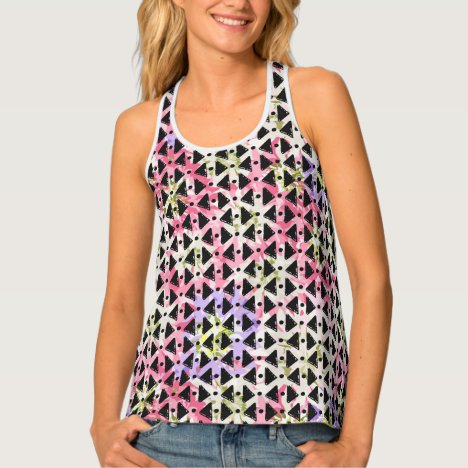 Funky open weave look pink green black tank top