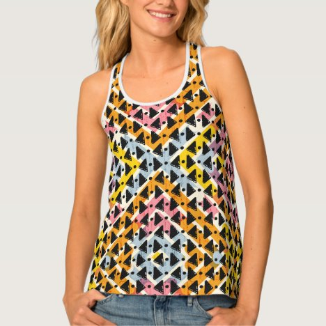 Funky open weave look pink yellow blue black tank top