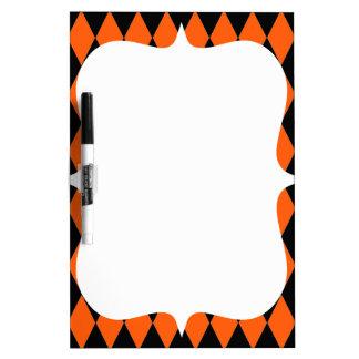 Funky Orange and Black Diamond Harlequin Pattern Dry-Erase Board