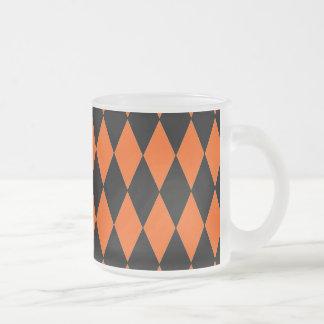 Funky Orange and Black Diamond Harlequin Pattern Frosted Glass Coffee Mug
