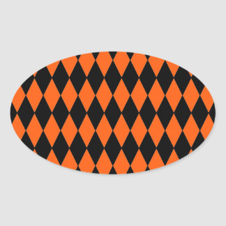 Funky Orange and Black Diamond Harlequin Pattern Oval Sticker