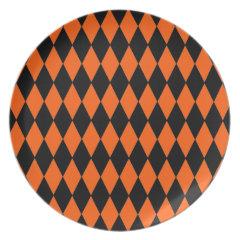 Funky Orange and Black Diamond Harlequin Pattern Plate