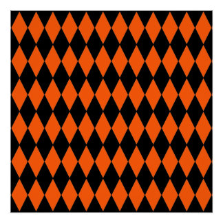 Funky Orange and Black Diamond Harlequin Pattern Poster
