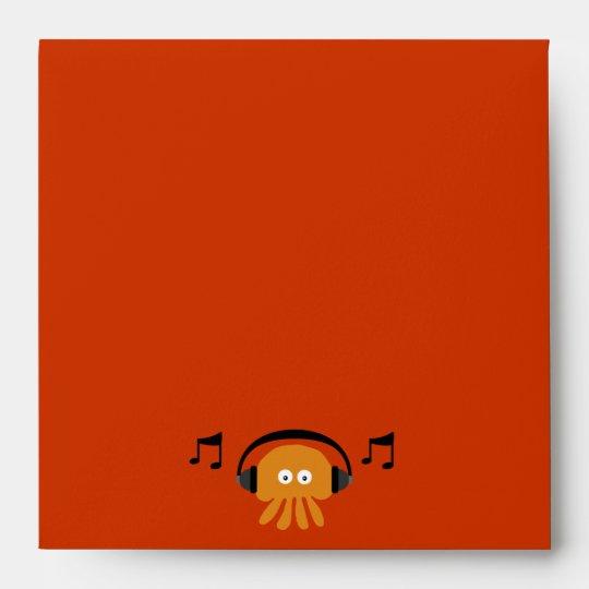 Funky Orange Jellyfish DJ Customizable Party Envelope