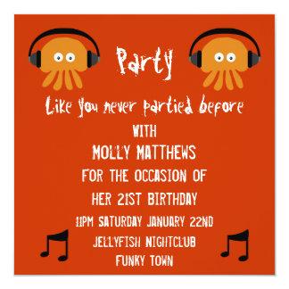 Funky Orange Jellyfish DJ party Card