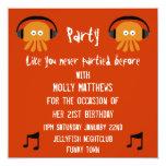 Funky Orange Jellyfish DJ party Invites