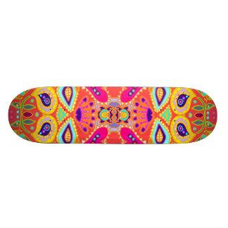 Funky Orange Kaleidoscope Tiki Face TBA TOP 10 Skateboard