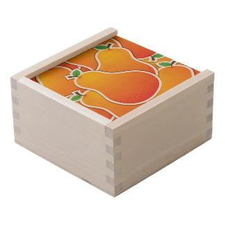 Funky orange pear wooden keepsake box