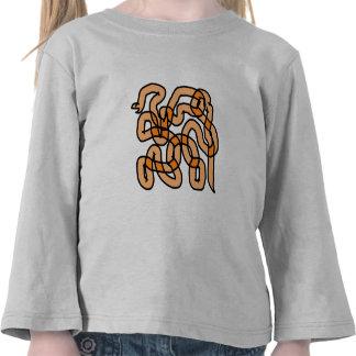 Funky Orange Snake Design. Tees