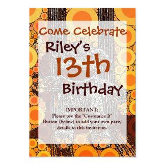 Funky Orange Sock Monkey Circles Bubbles Pop Art 5x7 Paper Invitation Card