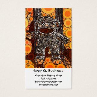 Funky Orange Sock Monkey Circles Bubbles Pop Art Business Card