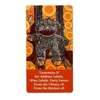 Funky Orange Sock Monkey Circles Bubbles Pop Art Label