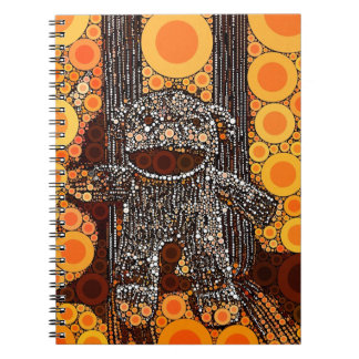 Funky Orange Sock Monkey Circles Bubbles Pop Art Notebook