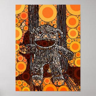 Funky Orange Sock Monkey Circles Bubbles Pop Art Posters