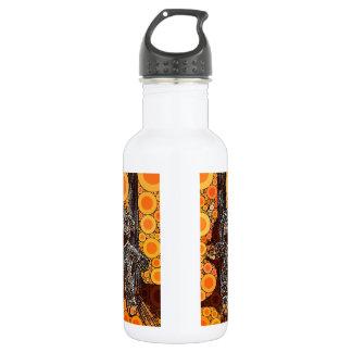 Funky Orange Sock Monkey Circles Bubbles Pop Art Water Bottle
