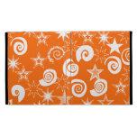 Funky Orange Stars and Swirls Fun Pattern Gifts iPad Folio Cover