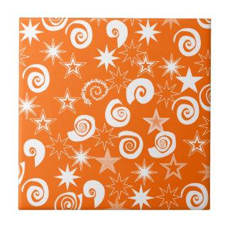 Funky Orange Stars and Swirls Fun Pattern Gifts Ceramic Tile