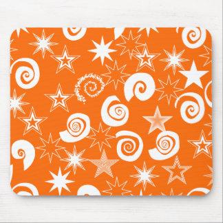 Funky Orange Stars and Swirls Fun Pattern Gifts Mouse Pad