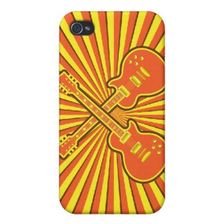 Funky Orange, Yellow & Brown Guitars Case For iPhone 4