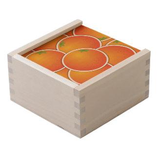 Funky oranges wooden keepsake box