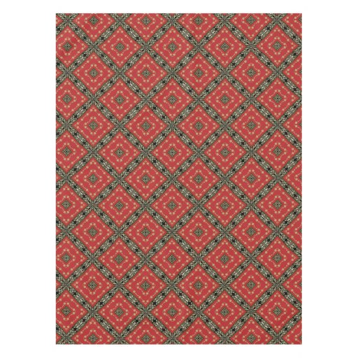 Funky Ornate Black Gold Red Tablecloth