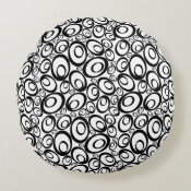 Funky Ovals Round Pillow